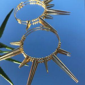 Jewelry - handmade giant spiked hoop earrings